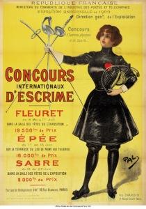 Affiche de la compétition d'escrime. Aucun affiche officielle n'a été présentée pour ces jeux. (Source: Wikipedia).